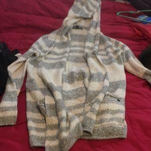 Eddie Bauer cardigan Sweater with hood striped